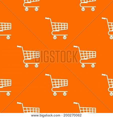Shopping cart pattern repeat seamless in orange color for any design. Vector geometric illustration