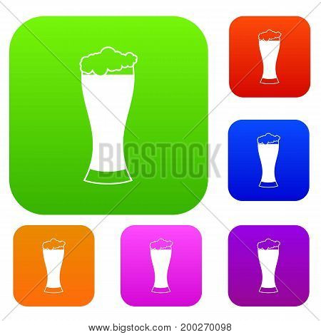 Glass of beer set icon in different colors isolated vector illustration. Premium collection
