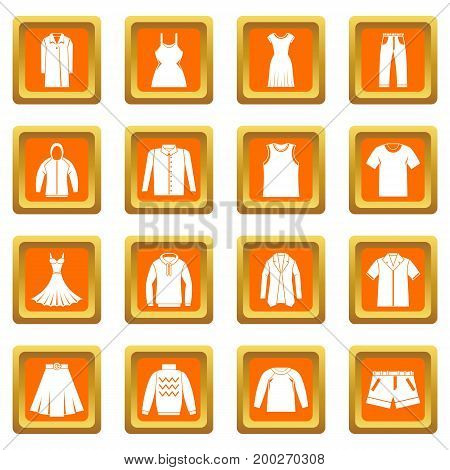 Different clothes icons set in orange color isolated vector illustration for web and any design