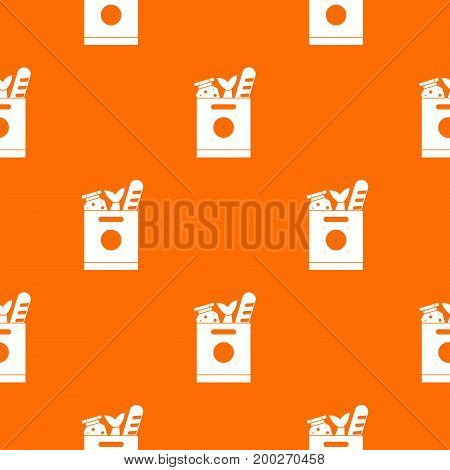 Grocery bag with food pattern repeat seamless in orange color for any design. Vector geometric illustration