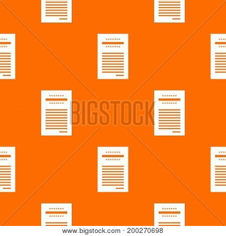 Sales printed receipt pattern repeat seamless in orange color for any design. Vector geometric illustration