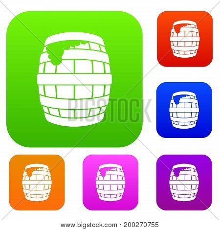 Barrel of beer set icon in different colors isolated vector illustration. Premium collection