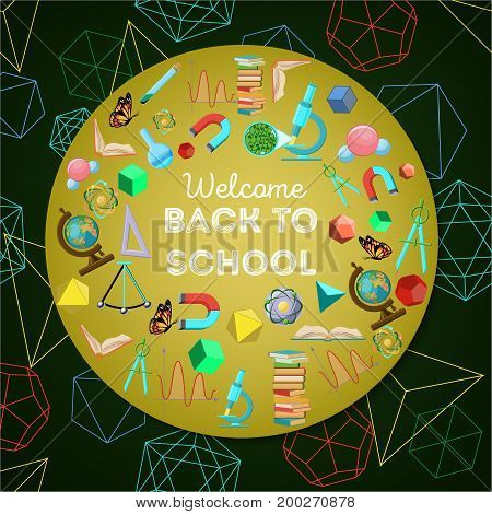 Welcome back to school colorful background with circle of school elements and text on dark green with geometrical shapes background. Cartoon vector illustration in flat style.