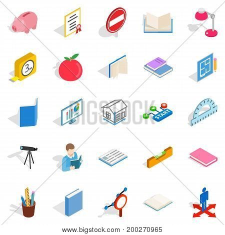 Sciential icons set. Isometric set of 25 sciential vector icons for web isolated on white background