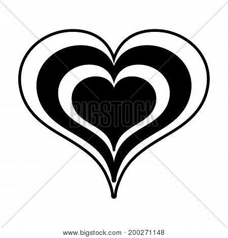 contour beauty heart a romance decoration design vector illustration