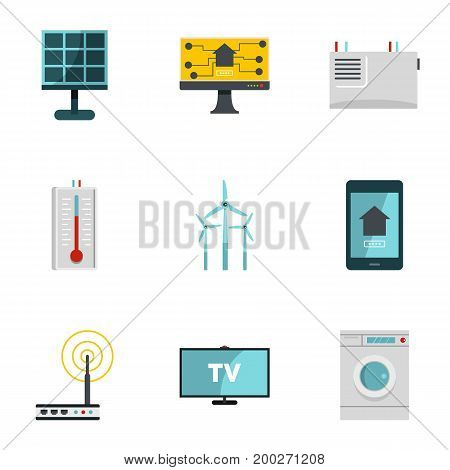 Automatic electronic devices icon set. Flat style set of 9 automatic electronic devices vector icons for web isolated on white background