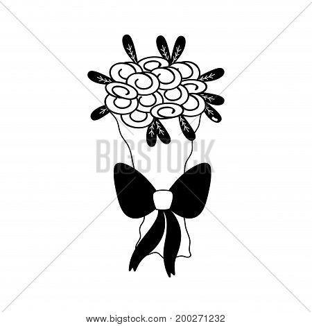 contour beautiful flower bouquet decoration design vector illustration