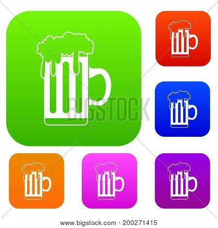 Mug with beer set icon in different colors isolated vector illustration. Premium collection