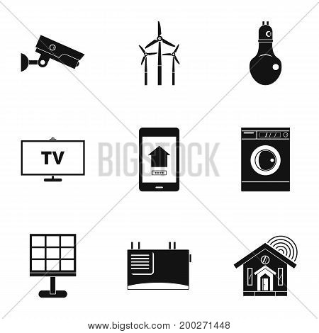 Smart home system icon set. Simple style set of 9 smart home system vector icons for web isolated on white background