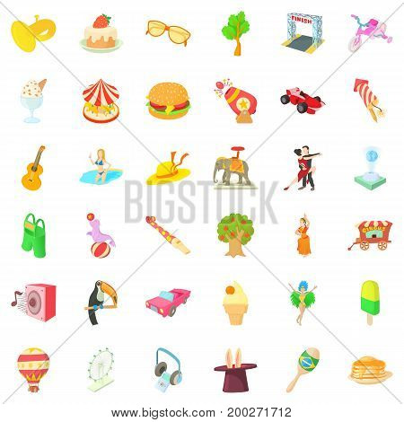 Fun amusement icons set. Cartoon style of 36 fun amusement vector icons for web isolated on white background