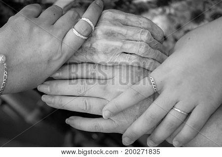 Four hands, four generations, four women, same family.