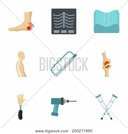 Orthopedic surgery icon set. Flat style set of 9 orthopedic vector icons for web isolated on white background