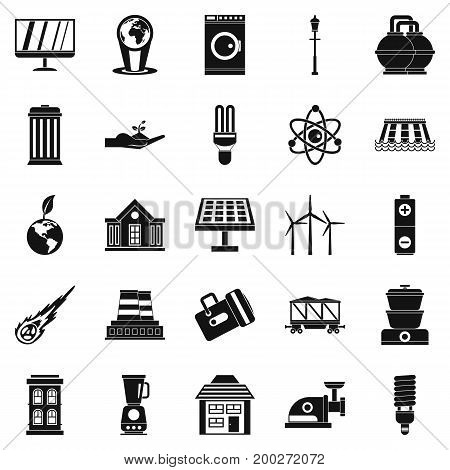 Energy transfer icons set. Simple set of 25 energy transfer vector icons for web isolated on white background