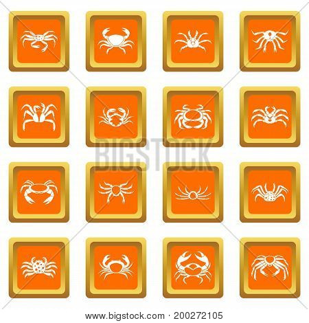 Various crab icons set in orange color isolated vector illustration for web and any design
