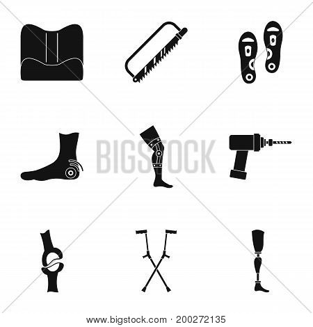 Orthopedic surgery icon set. Simple style set of 9 orthopedic surgery vector icons for web isolated on white background