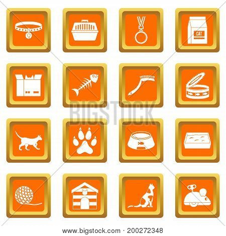Cat care tools icons set in orange color isolated vector illustration for web and any design