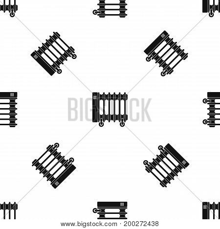 Oil electric heater on wheels pattern repeat seamless in black color for any design. Vector geometric illustration