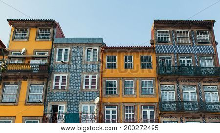Facades of houses in old Porto downtown, Portugal.