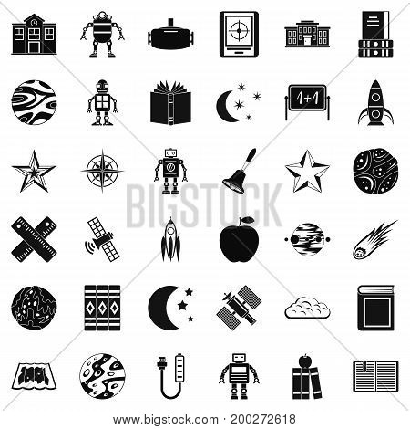 Astronomy robot icons set. Simple style of 36 astronomy robot vector icons for web isolated on white background
