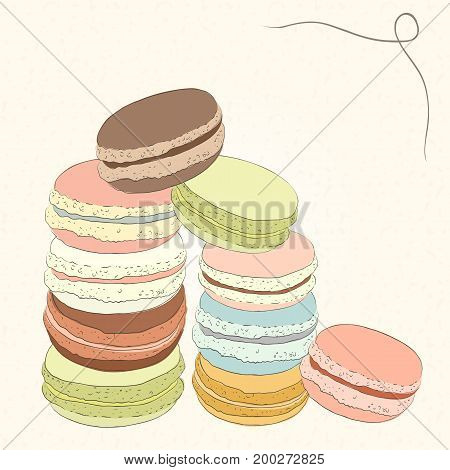 Set of colorful doodle macaroons. Sketch of macaroons