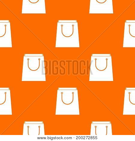 Paper shopping bag pattern repeat seamless in orange color for any design. Vector geometric illustration
