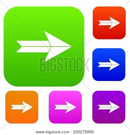 Big arrow set icon in different colors isolated vector illustration. Premium collection