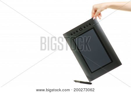 Graphic tablet female hands isolated on white background isolation