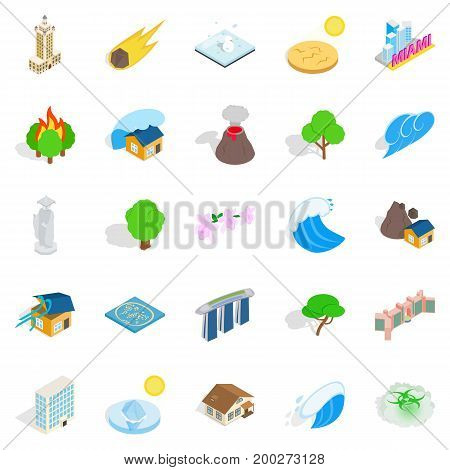 Elements icons set. Cartoon set of 25 elements vector icons for web isolated on white background