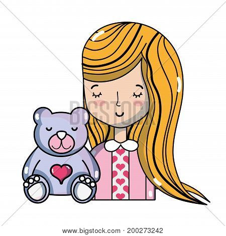 beauty woman with hairstyle and teddy beard vector illustration