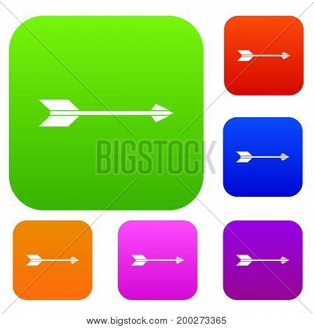 Long arrow set icon in different colors isolated vector illustration. Premium collection