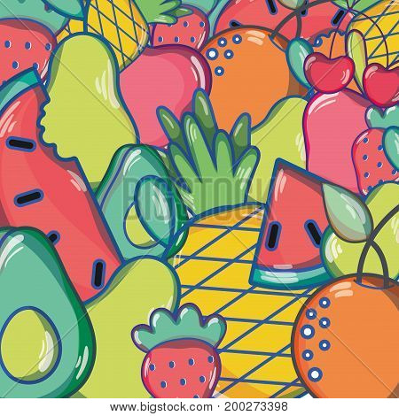 delicious tropical fruits background design vector illustration