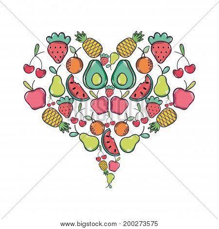 delicious tropical organ fruits of heart shape vector illustration