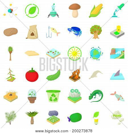 Biology and ecology icons set. Cartoon style of 36 biology and ecology vector icons for web isolated on white background