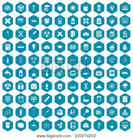 100 chemistry icons set in sapphirine hexagon isolated vector illustration