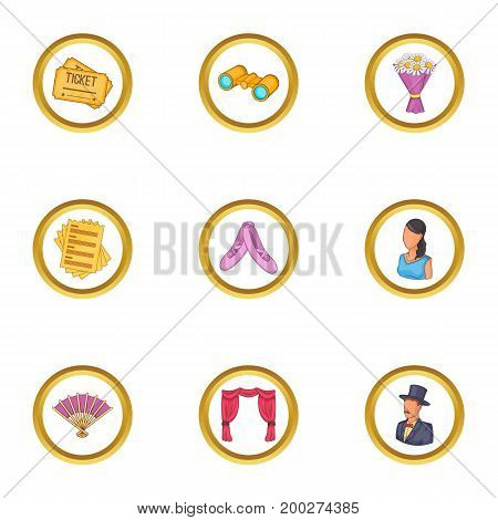 Show icons set. Cartoon illustration of 9 show vector icons for web design