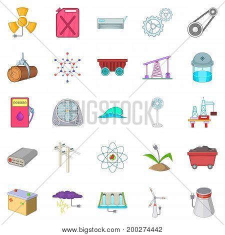 Natural energy icons set. Cartoon set of 25 natural energy vector icons for web isolated on white background