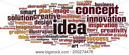 Idea word cloud concept. Vector illustration on white