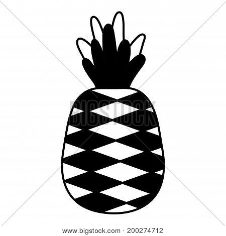 contour delicious pineapple fruit with protein nutrition vector illustration