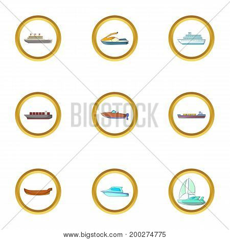 Ship icons set. Cartoon illustration of 9 ship vector icons for web design