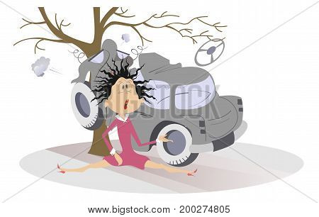 Road accident, crashed car and young woman. Shocked woman with raised hair sits near a car which crashed into the tree