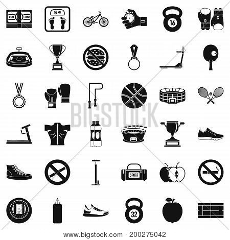 Boxing bag icons set. Simple style of 36 boxing bag vector icons for web isolated on white background