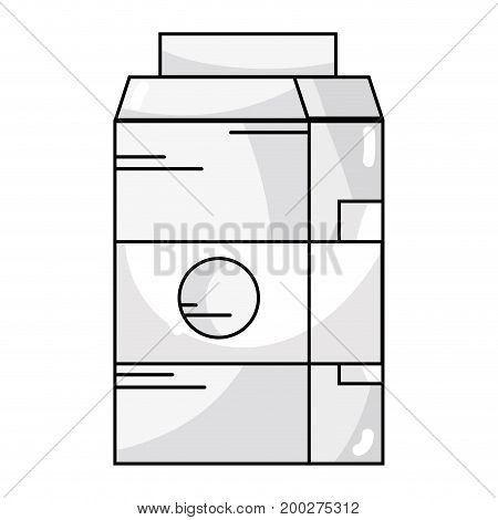 line delicious milk box with nutrients ingredients vector illustration