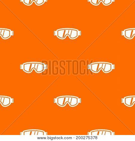 Skiing mask pattern repeat seamless in orange color for any design. Vector geometric illustration