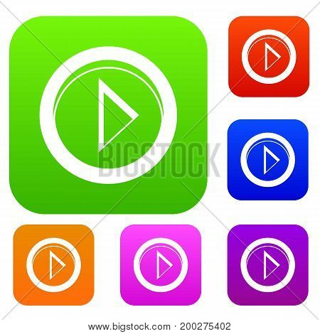 Cursor to right in circle set icon in different colors isolated vector illustration. Premium collection