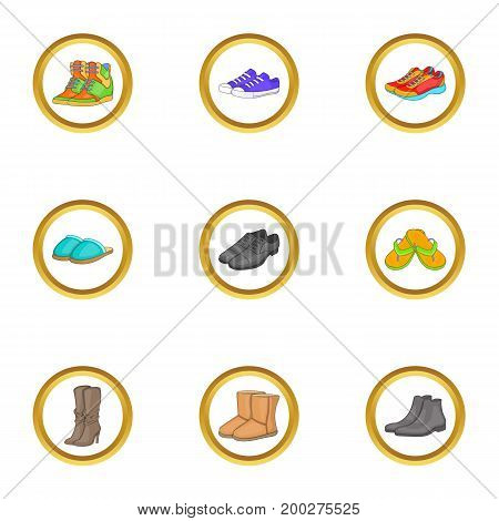 Boot icons set. Cartoon illustration of 9 boot vector icons for web design