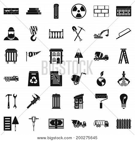 Building work icons set. Simple style of 36 building work vector icons for web isolated on white background