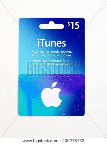 MONTREAL CANADA - JULY 30 2017 : iTunes 25 dollar gift card on a white background