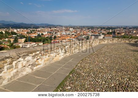 Bergamo Italy - August 18 2017: Panoramic view of the city of Bergamo from the castle walls.