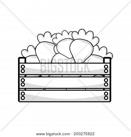 line delicious strawberries fruits inside basket vector illustration