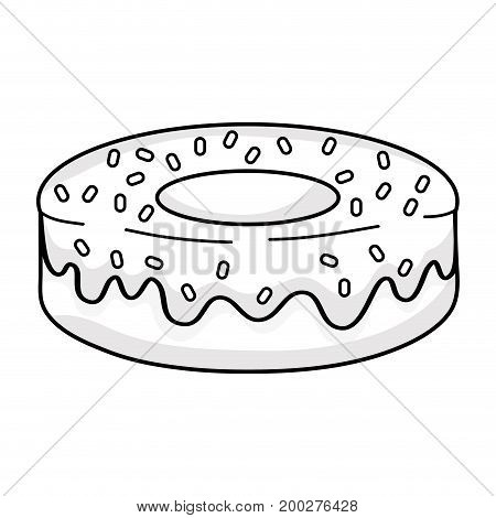 line delicious fresh donut dessert pastry vector illustration